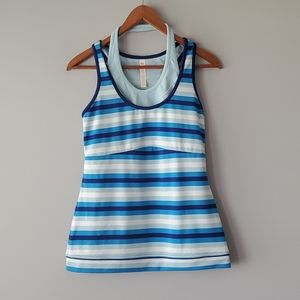 Lucy Blue White Striped Tank Top Built In Bra M